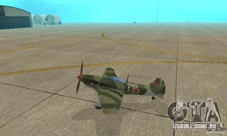 Yak-9, durante a II Guerra Mundial para GTA San Andreas esquerda vista