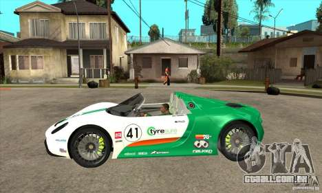 Porsche 918 Spyder para GTA San Andreas esquerda vista