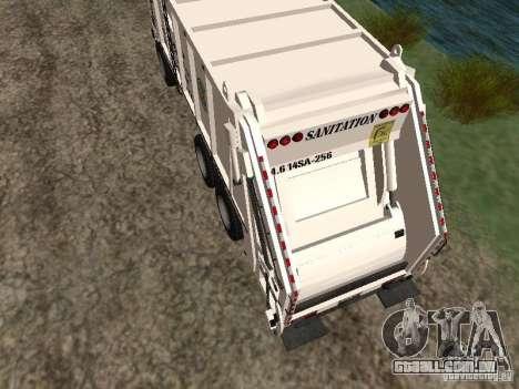 Caminhão de lixo do GTA 4 para GTA San Andreas traseira esquerda vista