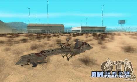 Star Wars speedbike para GTA San Andreas vista direita