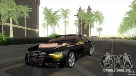 Audi S8 2012 para GTA San Andreas traseira esquerda vista