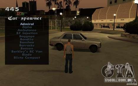Vehicles Spawner para GTA San Andreas por diante tela