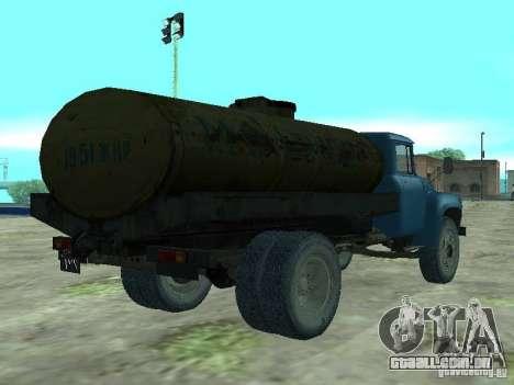 ZIL 130 tanque de leite para GTA San Andreas traseira esquerda vista
