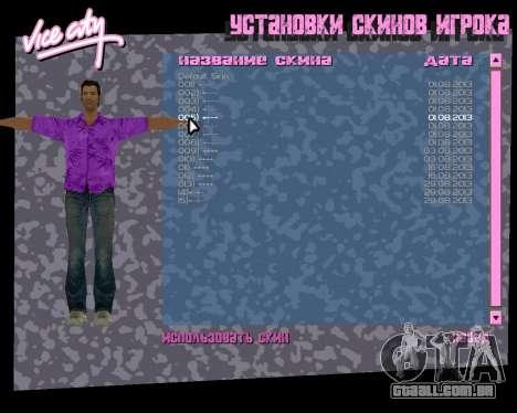 Camisa violeta para GTA Vice City por diante tela