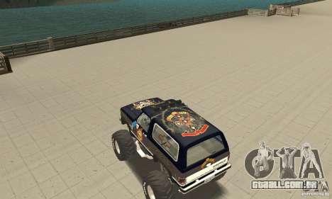 Chevrolet Blazer K5 Monster Skin 2 para GTA San Andreas traseira esquerda vista