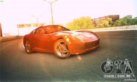 Ferrari 599 GTB Fiorano para GTA San Andreas traseira esquerda vista
