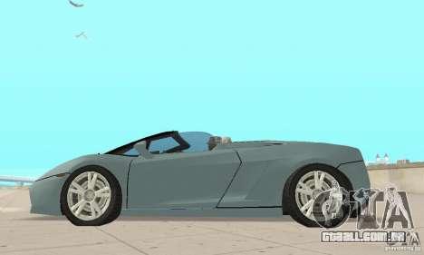 Lamborghini Gallardo Spyder para GTA San Andreas vista direita