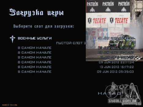 Fórmula Drift-estilo menu para GTA San Andreas sétima tela