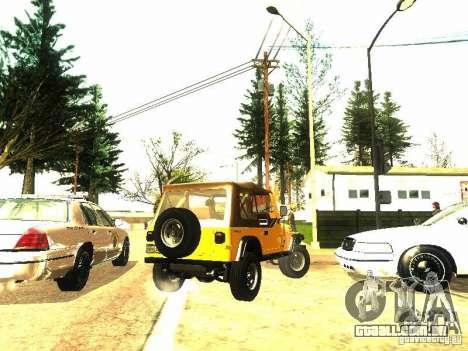 Jeep Wrangler Convertible para GTA San Andreas vista traseira