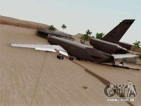 McDonell Douglas KC-10A Extender para GTA San Andreas traseira esquerda vista
