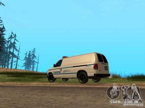 Ford E-150 NYPD Police para GTA San Andreas traseira esquerda vista