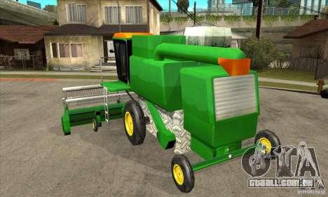 Combine Harvester Retextured para GTA San Andreas traseira esquerda vista
