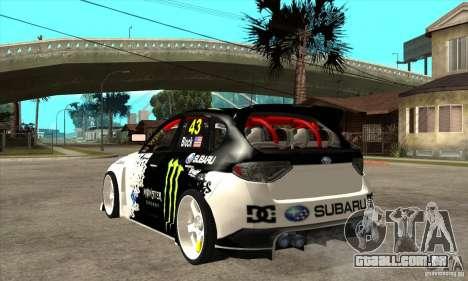 Subaru Impreza 2009 (Ken Block) para GTA San Andreas traseira esquerda vista