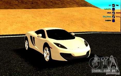 McLaren MP4-12C 2011 para GTA San Andreas vista traseira
