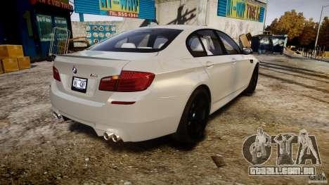 BMW M5 F10 2012 para GTA 4 vista lateral