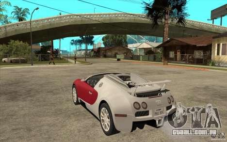 Bugatti Veyron Gran Sport 2011 para GTA San Andreas traseira esquerda vista