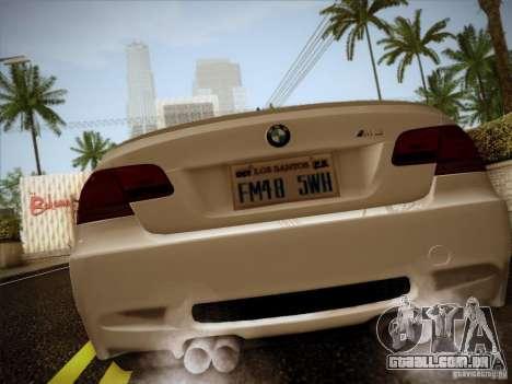 BMW E92 v2 Updated para GTA San Andreas traseira esquerda vista
