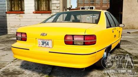 Chevrolet Caprice 1991 LCC Taxi para GTA 4 traseira esquerda vista