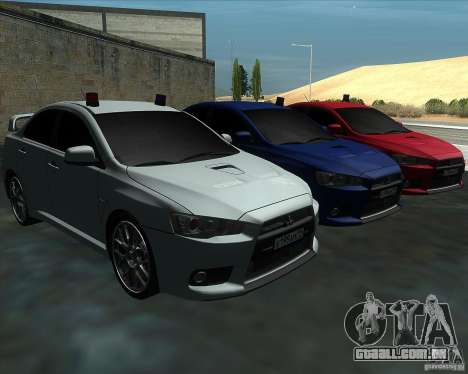 Mitsubishi Lancer Evolution X MR1 v2.0 para GTA San Andreas vista traseira