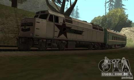 O carro das ferrovias russas 2 para GTA San Andreas vista direita