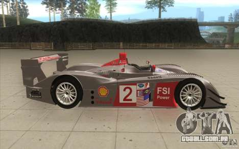 Audi R10 LeMans - Stock para GTA San Andreas vista interior