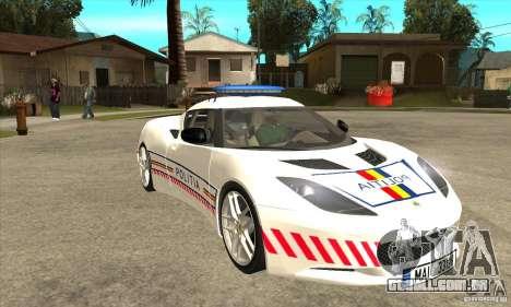 Lotus Evora S Romanian Police Car para GTA San Andreas vista traseira
