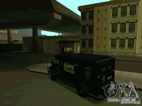 Stokade SAPD SWAT Van para GTA San Andreas traseira esquerda vista