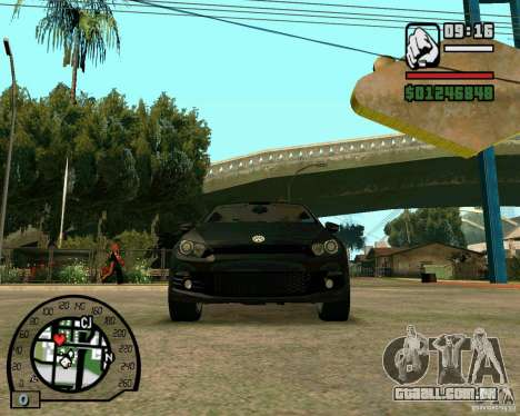 Volswagen Scirocco para GTA San Andreas vista interior