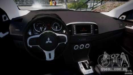 Mitsubishi Lancer Evolution X para GTA 4 vista de volta