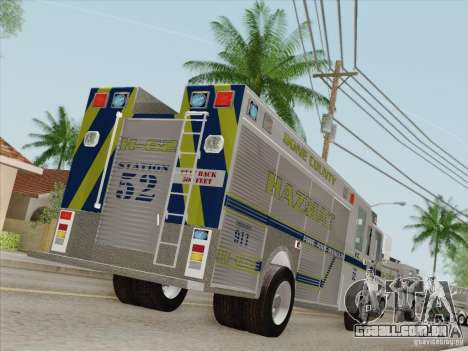 Pierce Fire Rescues. Bone County Hazmat para as rodas de GTA San Andreas