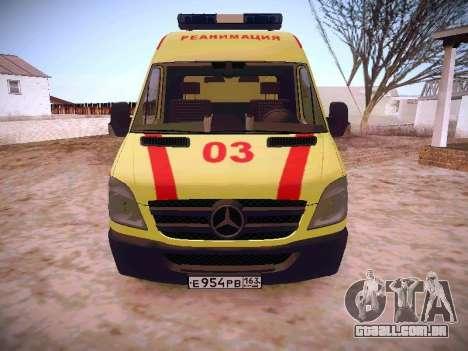 Mercedes Benz Sprinter Ambulance para GTA San Andreas esquerda vista