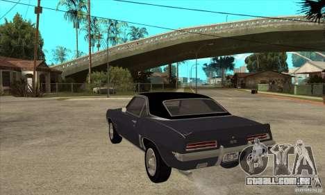 Chevrolet Camaro SS - Stock para GTA San Andreas traseira esquerda vista