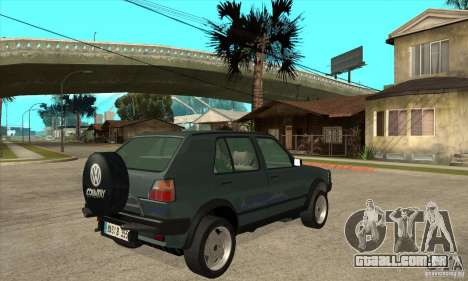 Volkswagen Golf Country MkII Syncro 4x4 1991 para GTA San Andreas vista direita