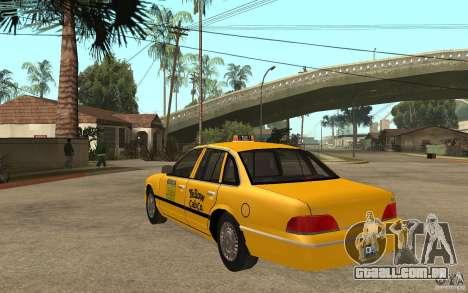Ford Crown Victoria Taxi 1992 para GTA San Andreas traseira esquerda vista