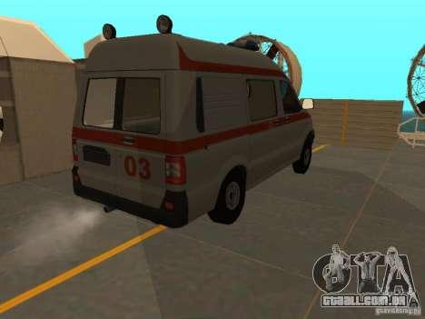 UAZ Simba SC ambulância para GTA San Andreas vista traseira