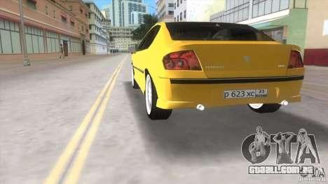 Peugeot 407 para GTA Vice City vista traseira esquerda