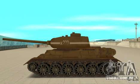Tanque T-34 para GTA San Andreas esquerda vista