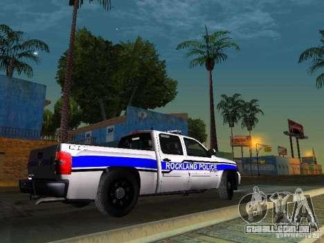 Chevrolet Silverado Rockland Police Department para GTA San Andreas traseira esquerda vista
