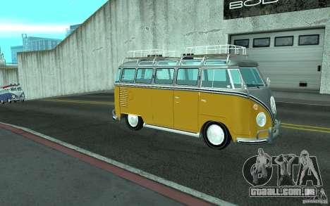 Volkswagen Transporter T1 SAMBAQ CAMPERVAN para GTA San Andreas esquerda vista