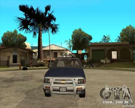 1996 Chevrolet Blazer pickup para GTA San Andreas vista traseira