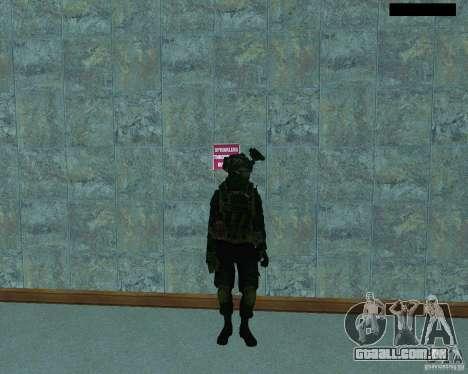 O terceiro soldado da pele Cod MW 2 para GTA San Andreas quinto tela