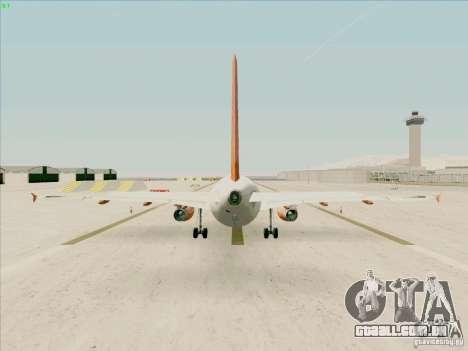 Airbus A319 Easyjet para GTA San Andreas vista direita