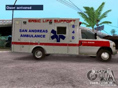Ford E-350 Ambulance v2.0 para GTA San Andreas esquerda vista