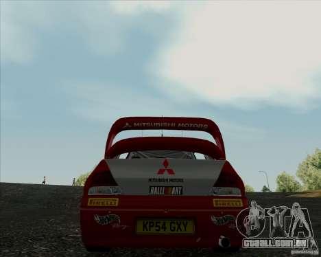 Mitsubishi Lancer Evolution VIII WRC para GTA San Andreas traseira esquerda vista