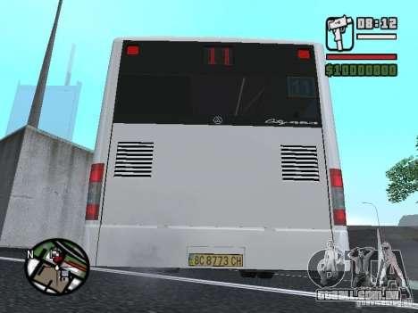 CityLAZ 12 LF para GTA San Andreas traseira esquerda vista