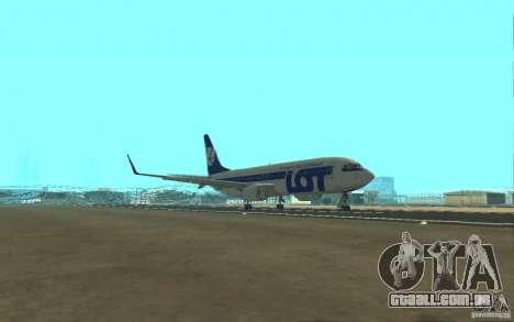 Boeing 737 LOT Polish Airlines para GTA San Andreas vista interior