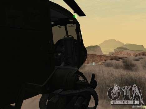 Helicóptero Huey da chamada do dever ops preto para GTA San Andreas vista interior