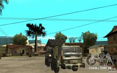 Missile Launcher Truck para GTA San Andreas vista traseira