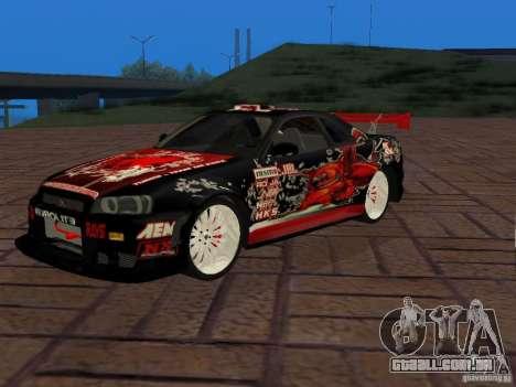 Nissan Skyline GT-R R34 Tunable para GTA San Andreas vista direita