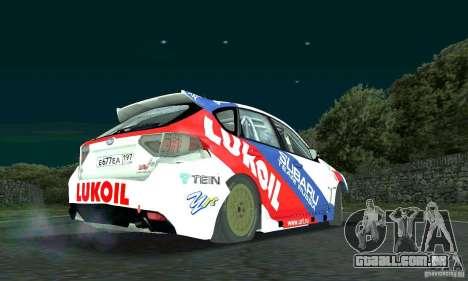 Subaru Impreza WRX STi Russia Rally para GTA San Andreas vista traseira